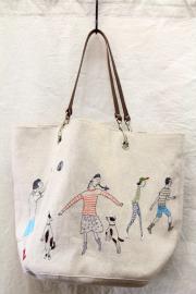 イラスト刺繍トートBAG 犬4匹