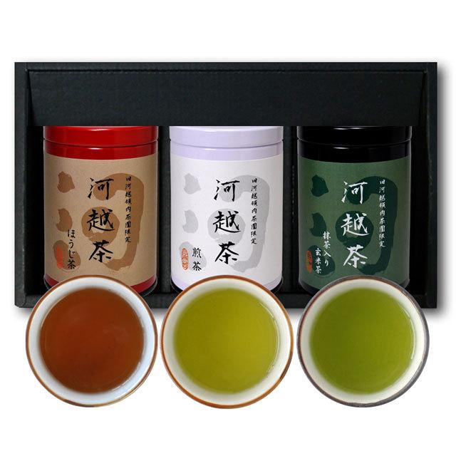 河越茶 箱入3缶セット(煎茶、荒茶、ほうじ茶)