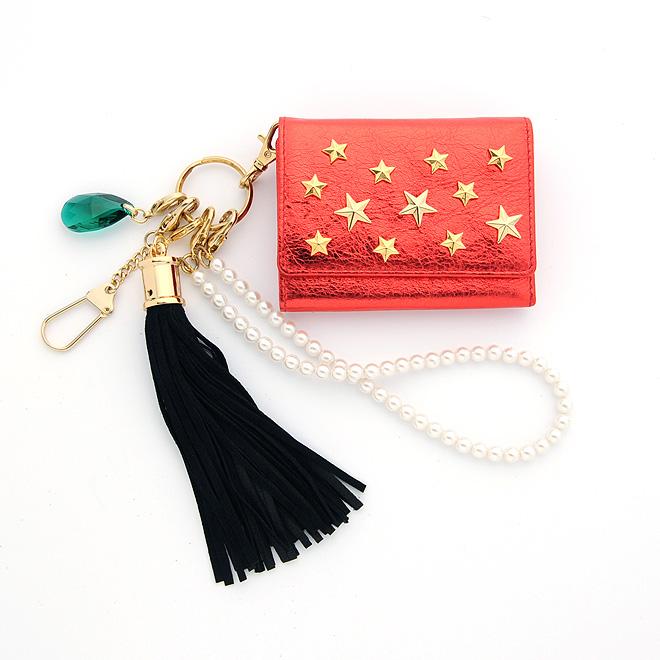極小財布 メタリック×星スタッズ グリーン ベーシック型小銭入れ BECKER(ベッカー)日本製