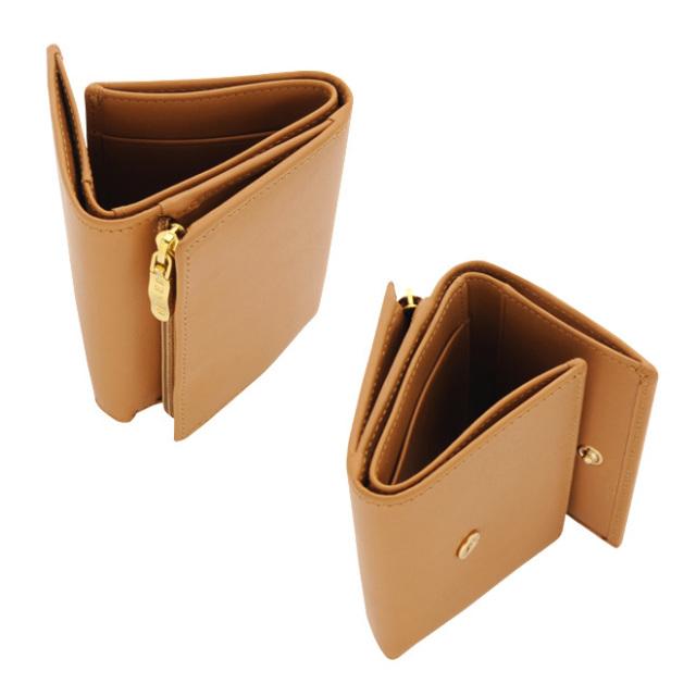 小型三つ折り財布(ボックスカーフ/仔牛革)L字ファスナー小銭入れ コニャック BECKER