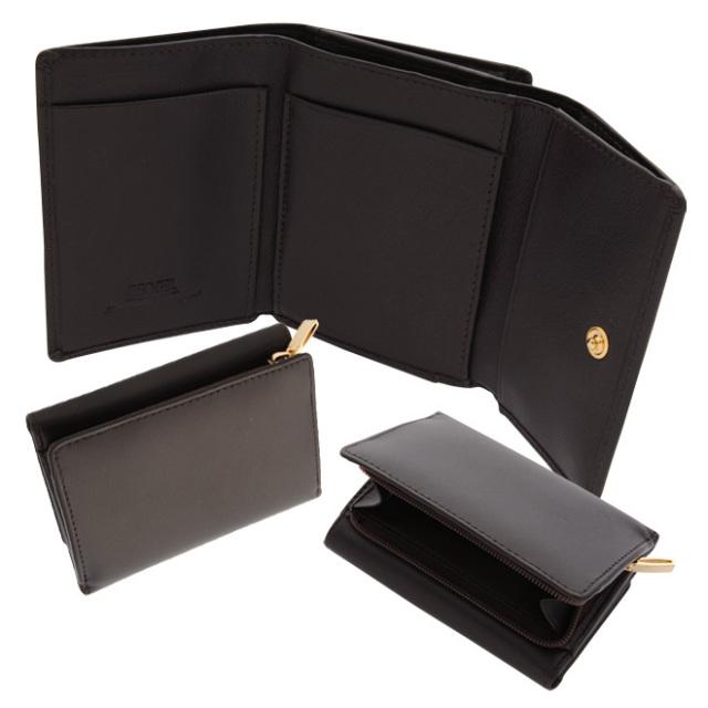 小型三つ折り財布(ボックスカーフ/仔牛革)L字ファスナー小銭入れ ブラウン BECKER