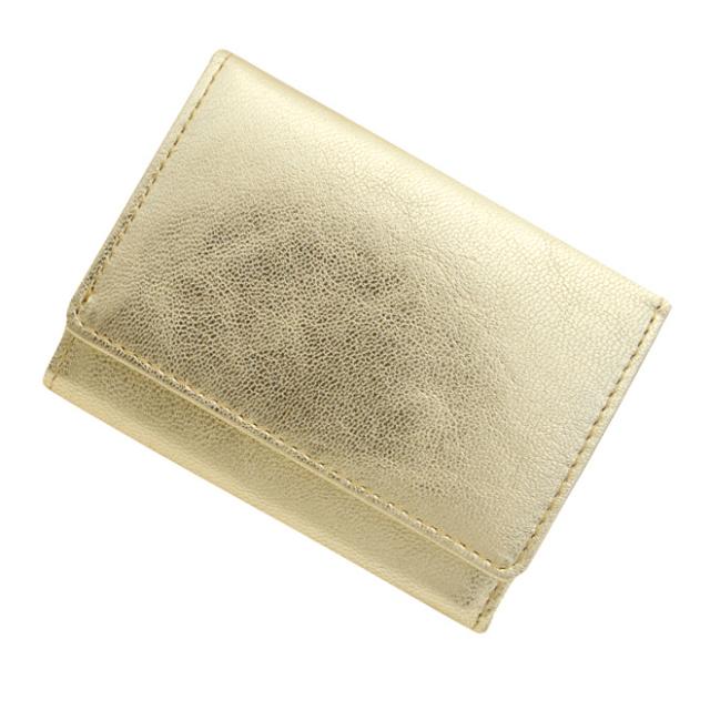 【送料無料】 極小財布 ゴートスキン メタリックゴールド ベーシック型小銭入れ BECKER(ベッカー) 日本製
