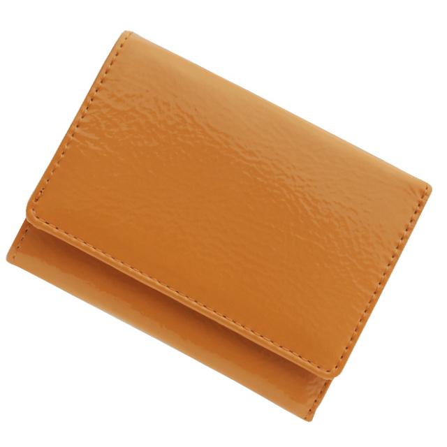 極小財布 エナメル(オレンジ)ベーシック型小銭入れ BECKER(ベッカー)