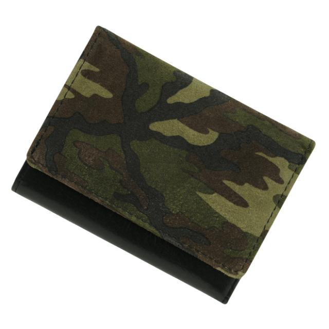 極小財布ピッグスエード カモフラージュ×ブラック BECKER(日本製)