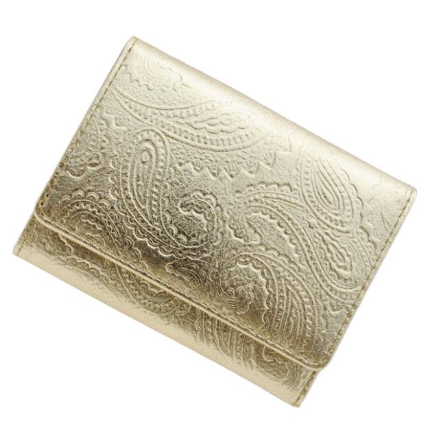 極小財布メタリックペイズリー ゴールド BECKER(日本製)