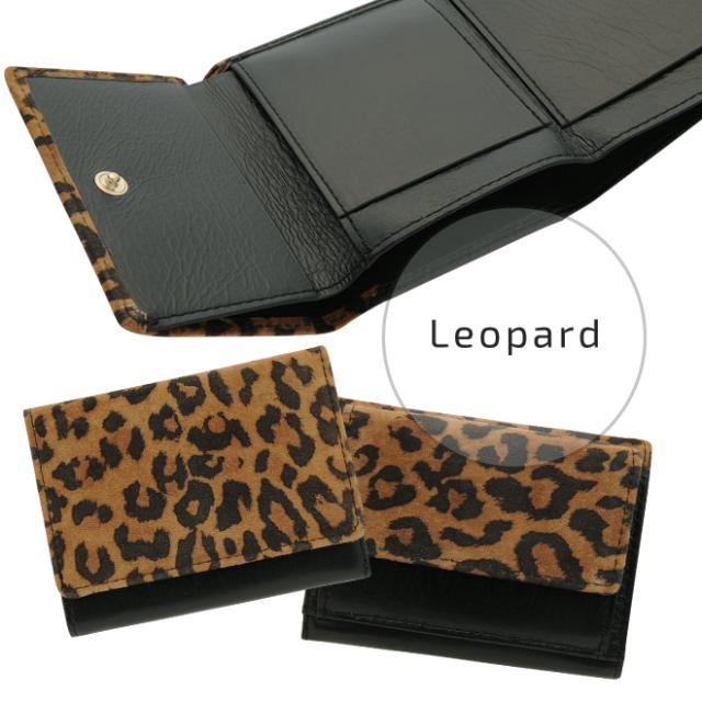 極小財布ピッグスエード レオパード×ブラック BECKER(ドイツ製)