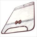 【日本製】【女の子向け】 透明・防水 ランドセルカバー リボン付 反射テープ付 ドットブラウン(茶)