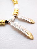 "Feather Hook Charm""LARGE""-SILVER×GOLD-"