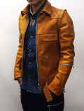 "Horse Hide Single Riders Jacket""QUADRUPLE""-ORANGE BROWN-"