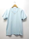 Star Studs V-neck S/S Tee-PALE BLUE-