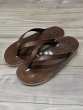 Tan Leather Thong Sandal-BROWN-