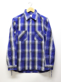 Heavy Twill Check Shirts-BLUE-