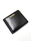Leather Bi-fold Wallet-BLACK-