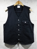Stripe Work Vest-BLACK-