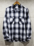 Open Collar Ombre Check Shirts-BLACK-