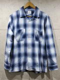 Open Collar Ombre Check Shirts-BLUE-