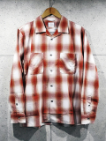 Open Collar Ombre Check Shirts-RED-