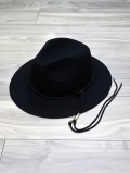 Long Brim Western Hat-BLACK-