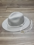 Long Brim Western Hat-GRAY-