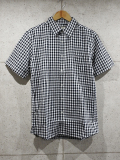 Gingham Check S/S Shirts-BLACK-