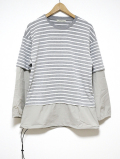 Fake Layered Knit Sawn-GRAY-