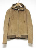 Suede Hooded Jacket-BEIGE-