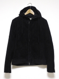 Suede Hooded Jacket-BLACK-