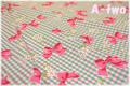 チェック&リボン ターコイズ×ピンク (約110cm幅×50cm)