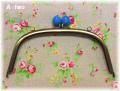 「FRUIT&FLOWER」 バラのバッグ用口金 18cm ブルー アンティーク