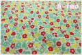 P&B Textiles Toy Chest Florals グリーン・レッド 00415 (約110cm幅×50cm)
