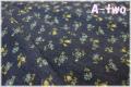 YUWA 国産綿麻 フラワー ネイビー (約110cm幅×50cm)