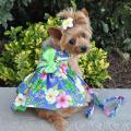 Doggie Design(ドギーデザイン)Blue Lagoon Hawaiian Hibiscus Dog Dress ブルー ラグーン ハワイアン ハイビスカス ドレス