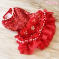 Wooflink(ウーフリンク)ドッグウェア HOLIDAY SEASON DRESS RED ホリデー シーズン ドレス レッド