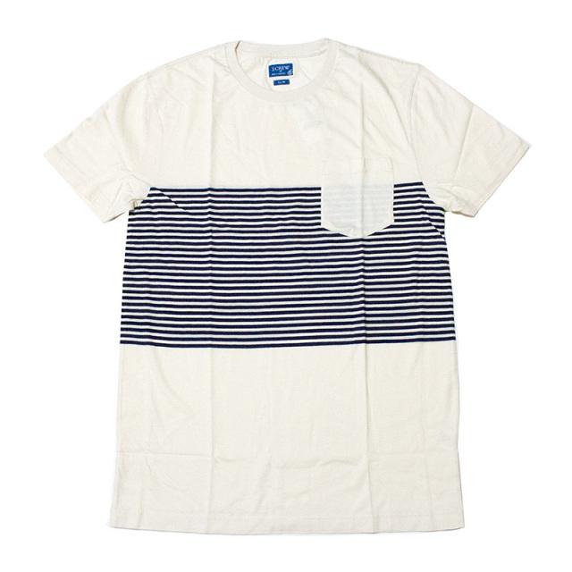 ジェイクルー J.crew:SLIM PLACED-STRIPE T-SHIRT Cream/スリム ポケットTシャツ クリーム