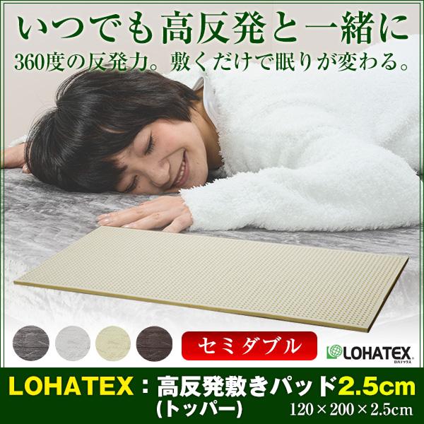 LOHATEX 敷きパッド 厚さ2.5cm ファスナー付アウトカバー セミダブル 120×200×2.5cm