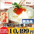 宮城県 1等米 つや姫 無洗米 9kg×3袋 平成25年産 ※新、消費税率8%を含む価格です。