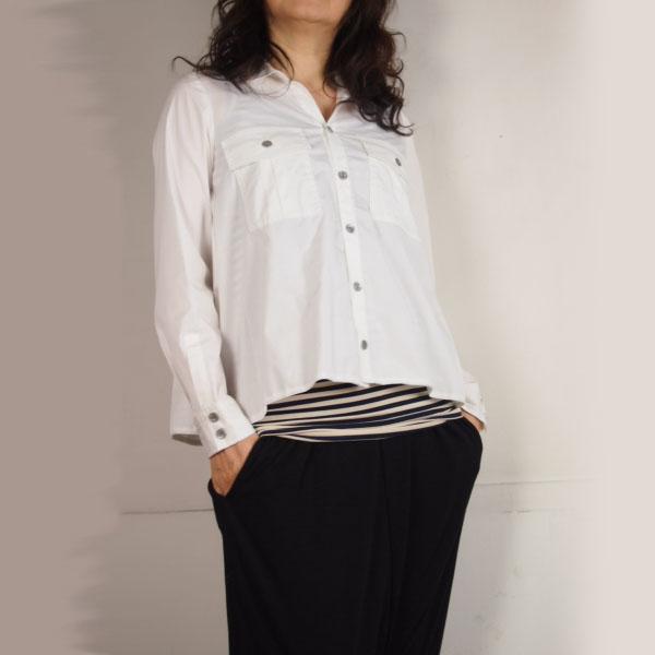synanogues 53(シナノーグ) 開襟 綿ブロードシロシャツ フレアーライン