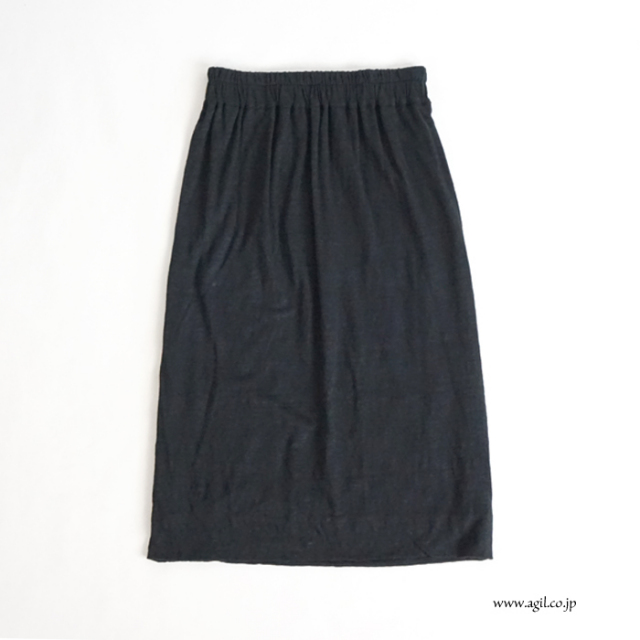 SYNANOGUES 53 (シナノーグ) 麻天竺カットソー地 イージースカート ミディ丈 ブラック レディース