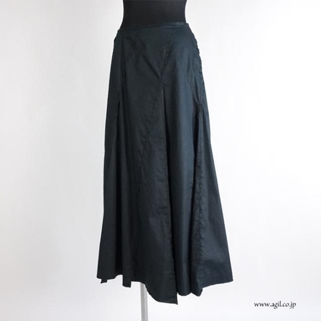 synanogues 53(シナノーグ) コットンツイル サーキュラーロングスカート ブラック 黒 レディース
