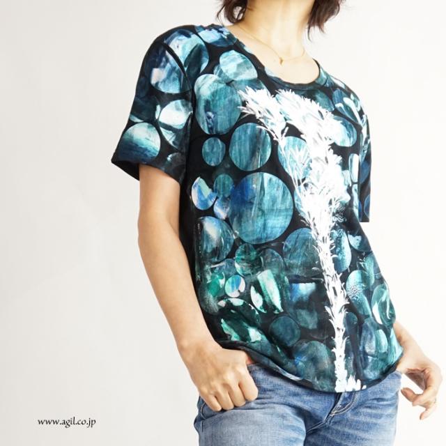 CILANDSIA(チランドシア) シルクスクリーンプリントTシャツ 円 線 メンズ レディース