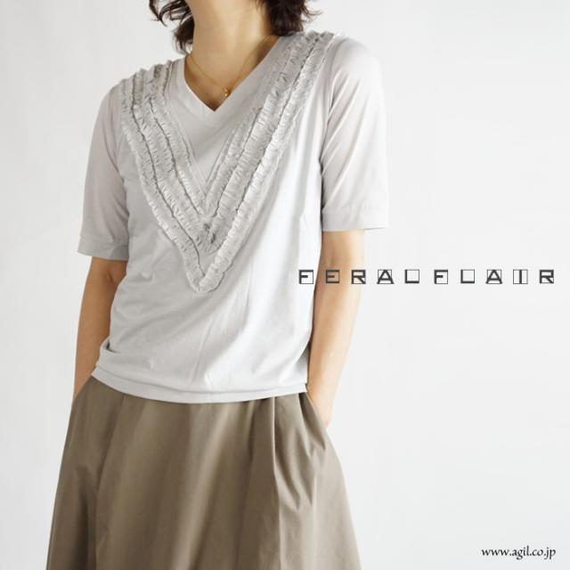 FERAL FLAIR (フィラルフレア) Vネック 半袖フリルTシャツ カットソー レディース