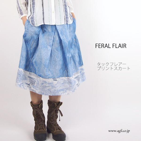 FERAL FLAIR フィラルフレア プリントタックフレアースカート レディース