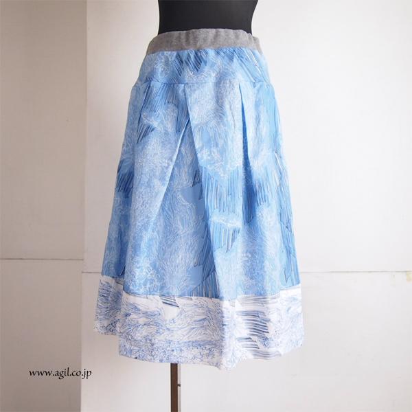 FERAL FLAIR (フィラルフレア) コットンリネン プリントフレアースカート ブルー系|レディース