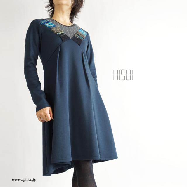 HISUI(ヒスイ) ミディ丈 ミモレフレアーワンピース ネイビー系 レディース