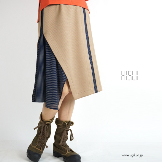 HISUI(ヒスイ) 膝丈 ミディ フレアースカート キャメル|レディース