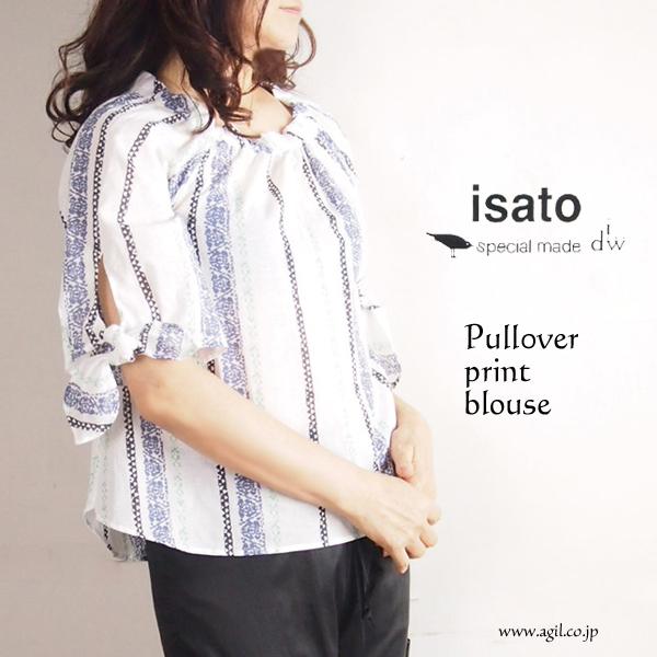 isato design works (イサトデザインワークス) プリント 5分袖 スモックブラウス レディース