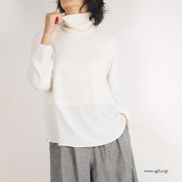 isato design works (イサトデザインワークス) タートルネック プルオーバーブラウス ネイビー ホワイト  レディース