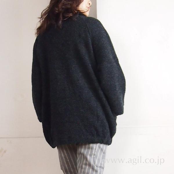 isato design works (イサトデザインワークス) ニットガウンジャケット ブラック|レディース