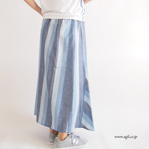 isato design works (イサトデザインワークス) 綿麻 ストライプ フレアーマキシスカート ブルー系 レディース