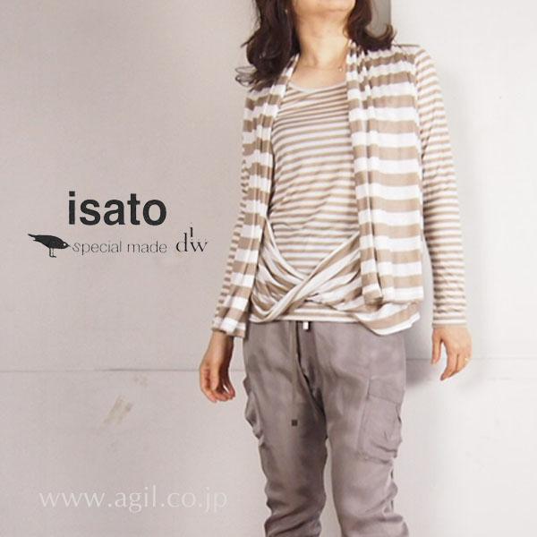 isato design works (イサト) 重ね着風 ボーダー長袖カットソー ベージュ